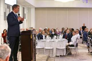 Conservative leader Andrew Scheer speaks at the CNEWA benefit dinner for Christians in the Middle East in Toronto Nov. 17.