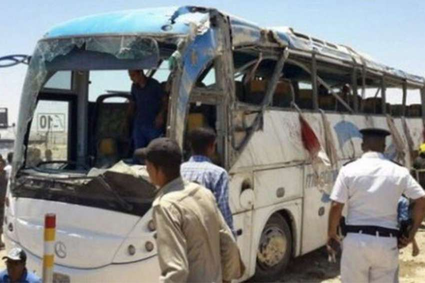A bus carrying Coptic Christians in southern Egypt is seen after gunmen attacked it May 26. The Health Ministry reports at least 26 fatalities, with at least 25 more wounded.