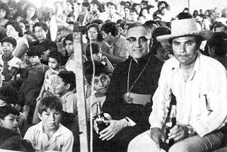 Then-Archbishop Oscar Romero is pictured in an undated photo in San Salvador, El Salvador.