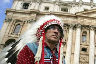 Phil Fontaine, former leader of the Assembly of the First Nations, received an apology from Pope Emeritus Benedict XVI during his visit at the Vatican April 29, 2009.