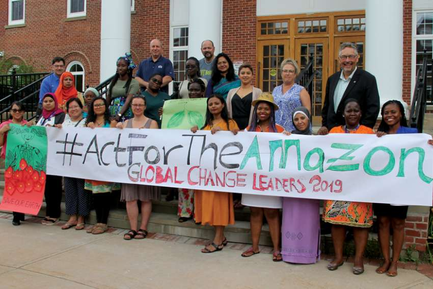 Participants in a program at the Coady Institute and some Coady staff show their support for the Amazon. The Global Change Leaders (18 women from 18 different countries) spent seven weeks on campus.