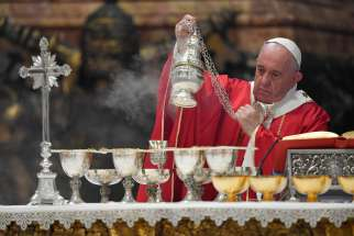 Pope Francis celebrates Mass in memory of cardinals and bishops who died in the past year. The Mass was Nov. 4, 2019, in St. Peter's Basilica at the Vatican.