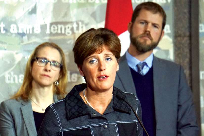 International Development Minister Marie-Claude Bibeau announced a deadline extension for the Syria Emergency Relief Fund to Feb. 29 at a news conference Jan. 7. Canadian Catholic Organization for Development and Peace executive director David Leduc, at right, attended the event