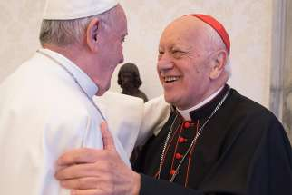 Pope Francis greets Cardinal Ricardo Ezzati Andrello of Santiago, Chile, during a meeting with representatives of the Chilean bishops' conference at the Vatican Jan. 14. The Pope and the leadership of the conference met to talk about the sex abuse crisis affecting the church in Chile.