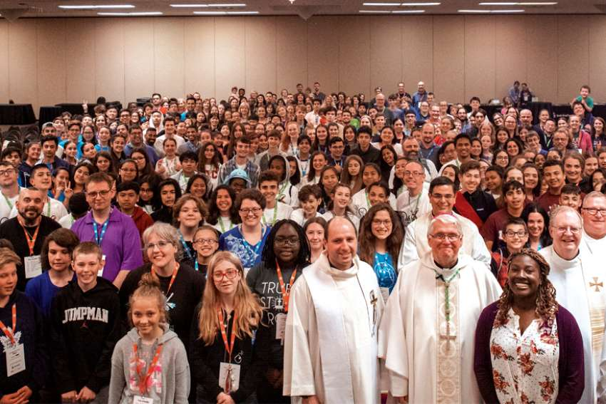 Hundreds of youth joined Hamilton Bishop Douglas Crosby for the Diocesan Youth Rally in Kitchener.