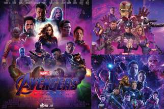Michael Bocale's poster design, left, won first place in Chaminade College School's poster design challenge. His poster, along with designs by Logan Dowie (top right) and Nicholas Basso (bottom right) will be featured at the Canadian premiere of the new Avengers movie April 24.