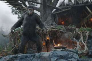"Caesar, voiced by Andy Serkis, appears in the movie ""Dawn of the Planet of the Apes."" The Catholic News Service classification is A-III -- adults. The Motion Picture Association of America rating is PG-13 -- parents strongly cautioned. Some material may be inappropriate for children under 13."