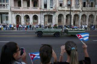 A military vehicle in Havana transports the ashes of the late Cuban President Fidel Castro Nov. 30. (CNS photo/Alexandre Meneghini, Reuters