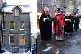After a celebratory Mass, Cardinal Thomas Collins blesses the new Ryerson Catholic Student Centre, located at 200 Church St. in Toronto. The front facade of the centre is shown on the left.