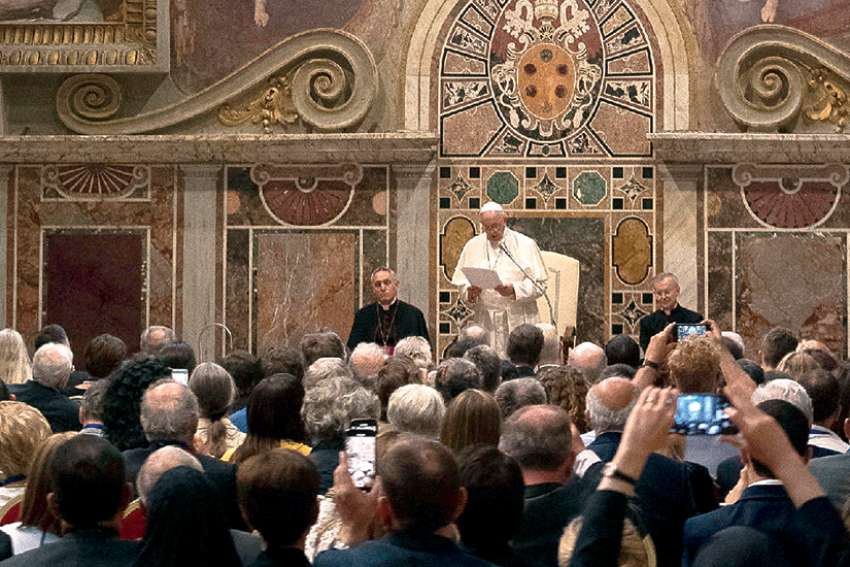 Pope Francis leads an audience with members of the International Federation of Catholic Medical Associations at the Vatican June 22.