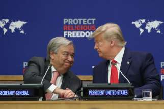 "U.N. Secretary-General Antonio Guterres, a Catholic, greets U.S. President Donald Trump during the ""Global Call to Protect Religious Freedom"" event at U.N. headquarters in New York City Sept. 23, 2019."
