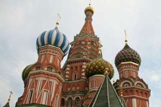 Saint basil's Cathedral in Moscow, Russia, 2007. A new anti-terrorism law passed by Russia is condemned to take away human rights and religious freedom.