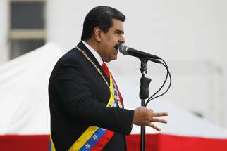 "Venezuelan President Nicolas Maduro speaks at Fuerte Tiuna military base in Caracas, Venezuela, Jan. 10 after his swearing-in for a second presidential term. The Venezuelan bishops' conference has labeled his new government ""illegitimate"" and called for a ""change in government."""