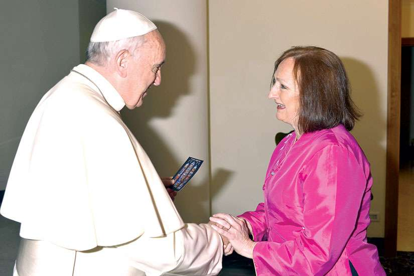CCN Ottawa correspondent Deborah Gyapong meets Pope Francis at the Vatican May 8.