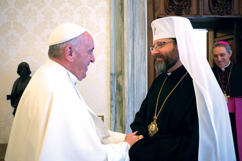 Pope Francis greets Archbishop Sviatoslav Shevchuk of Kiev-Halych, major archbishop of the Ukrainian Catholic Church, at the Vatican. Shevchuk is in Toronto in early October.