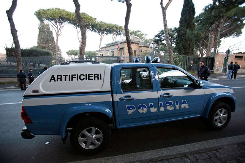An Italian police bomb disposal vehicle is parked outside the U.S. Embassy to the Vatican in Rome Dec. 29, 2010.