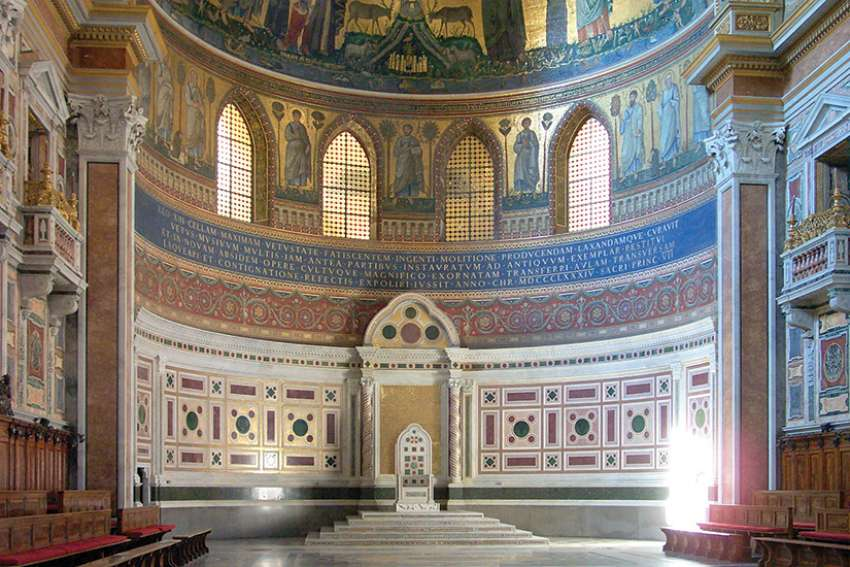 The cathedra of the bishop of Rome, Pope Francis, in the apse of St. John Lateran in Rome.