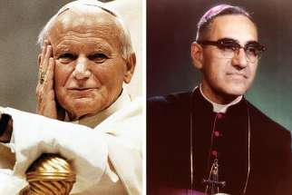 St. Pope John Paul II, left, and St. Oscar Romero.