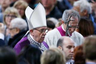 Pope Francis arrives to celebrate Ash Wednesday Mass at the Basilica of Santa Sabina in Rome March 1.