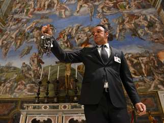 Gianni Crea, chief key keeper at the Vatican, in the Sistine Chapel with the bunch of keys he uses to access all rooms in the museum, on Oct. 6, 2016.