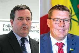 Premiers Jason Kenney, left, and Scott Moe face big challenges.