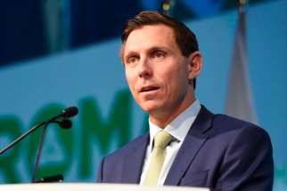 Patrick Brown addresses the The Rural Ontario Municipal Association Jan. 23, 2018.