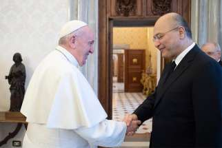 Pope Francis greets Iraqi President Barham Salih at the Vatican Jan. 25, 2020. The two leaders discussed guaranteeing the safety of Christians and the need for promoting stability, reconstruction, national sovereignty and dialogue in the country.