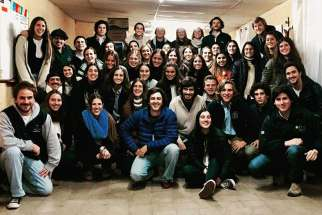 One of the group of young people who feed homeless in Montevideo, Uruguay is the Luceros Movement. They are made up of more than 100 volunteers who gather Mondays and Wednesdays to prepare more than 100 meals.