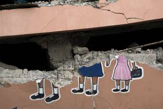 A portion of a destroyed Catholic school is seen Oct. 10 after an Oct. 6 earthquake in Gros Morne, Haiti.