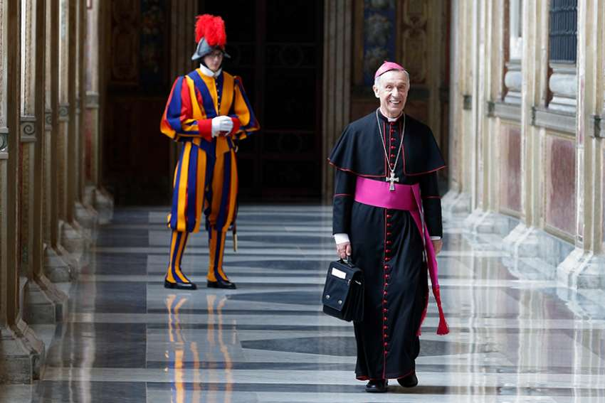 Archbishop Luis Ladaria Ferrer, prefect of the Congregation for the Doctrine of the Faith, arrives for a meeting with Pope Francis in the Apostolic Palace at the Vatican May 11.