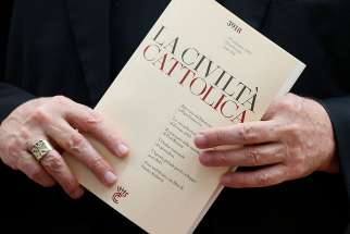 An issue of the Italian journal La Civilta Cattolica is seen at the Vatican in this 2013 file photo.