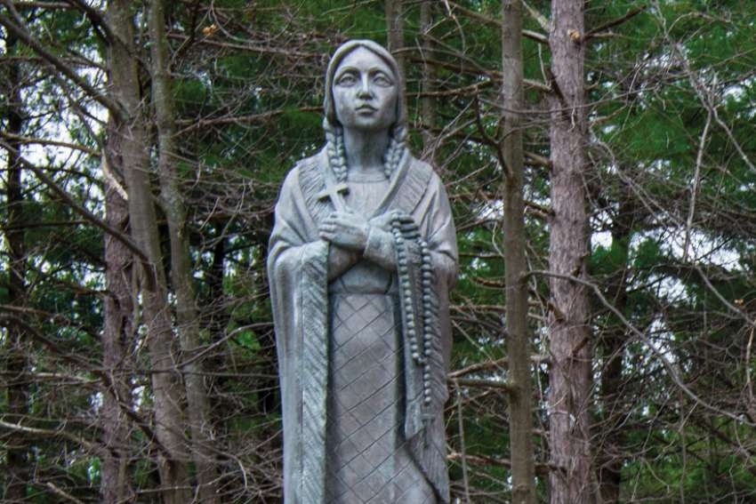 A statue of St. Kateri Tekakwitha on the grounds of the Martyrs' Shrine in Midland, Ont.