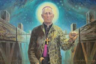 An official portrait of Archbishop Teofilius Matulionis by Polish artist Zbigniew Gierczak for his beatification is based on a photo taken in prison in 1933.