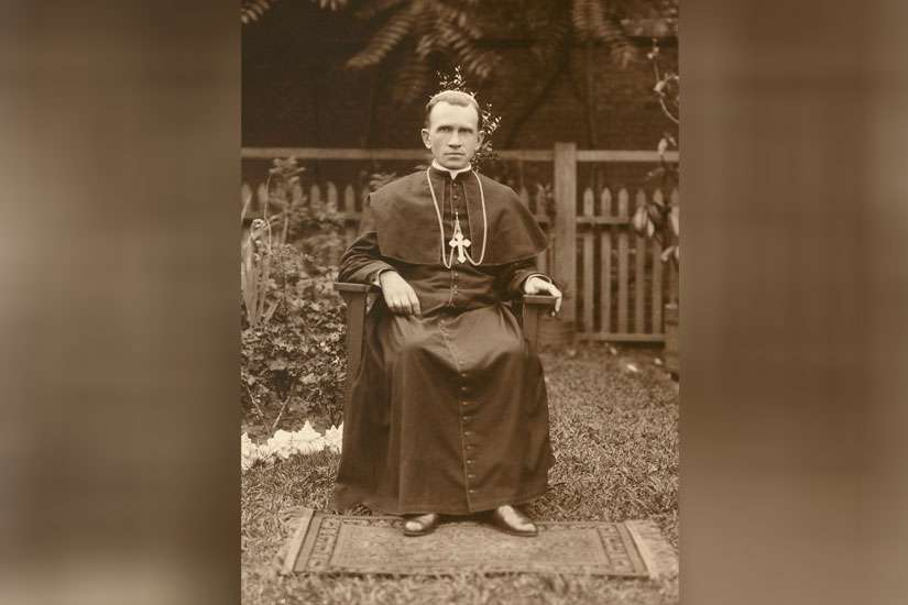 Blessed Nykyta Budka is pictured as a bishop in the backyard of his residence-chancery in Winnipeg circa 1920. Blessed Budka was the first Eastern Catholic bishop with jurisdiction in North America.