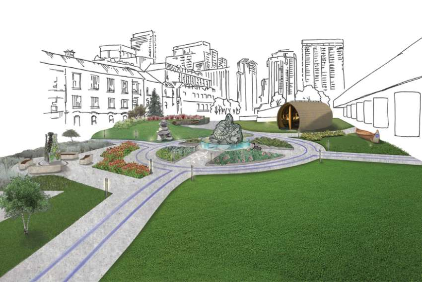 A new Indigenous healing garden (artist's rendering) is slated to be ready by 2023.