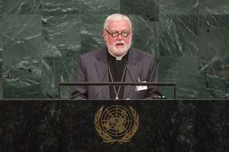 Archbishop Paul R. Gallagher, Vatican foreign minister, addresses the 72nd U.N. General Assembly Sept. 25 at U.N. headquarters in New York. The next day Archbishop Gallagher met with U.S. Secretary of State Rex Tillerson at the State Department in Washington.