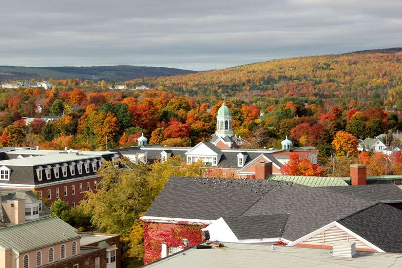View on Xavier Hall from Nicholson Tower, St. Francis Xavier University, Antigonish, Nova Scotia, Canada.
