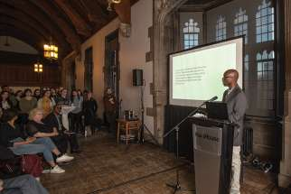 Leo Kabalisa tells the story of how 25 years ago he survived the Rwandan genocide. He was part of the launch of a book and a photo exhibition called And I Live On at the University of Toronto's Hart House.