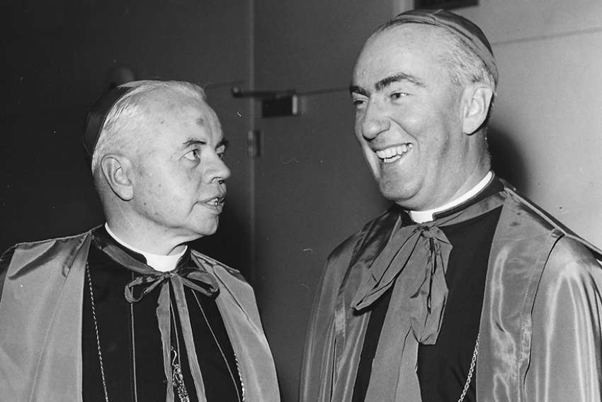 Archbishop Philip Pocock, left, and Bishop Gerald Emmett Carter, seen here in the early 1960s, were key figures in drafting the Winnipeg Statement.