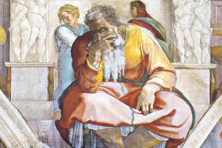 Jeremiah, as depicted by Michelangelo from the Sistine Chapel ceiling.