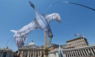 Kites in the form of birds are flown by environmental activists in St. Peter's Square at the Vatican June 28. Some 1,500 people marched to the Vatican in support of Pope Francis' recent encyclical on the environment.