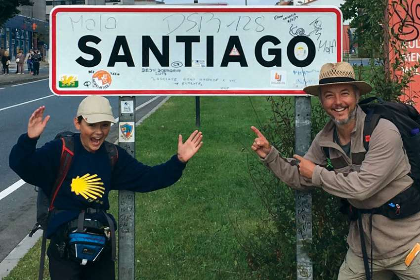 Rob Elford and his son Stephen celebrate the end of their Camino de Santiago pilgrimage. Elford is now planning a five-day pilgrimage ending at St. Mary's Cathedral Basilica in Halifax.