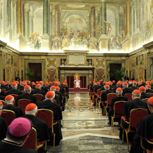 Pope Benedict XVI addresses the College of Cardinals at the Vatican Feb. 28, the final day of his papacy. In attendance were 144 cardinals, including many of the 115 younger than 80 who are eligible and expected to vote in the upcoming conclave.