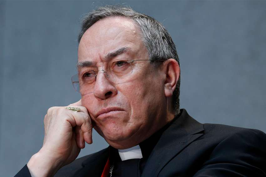 Cardinal Oscar Rodriguez Maradiaga of Tegucigalpa attends a press conference to introduce the work of the general assembly of Caritas Internationalis at the Vatican May 2015.