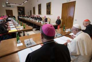 Pope Francis meets with members of the preparatory council for the Synod of Bishops for the Amazon region at the Vatican in this photo dated April 12-13 and released by the Vatican April 14. The synod will take place in October 2019.