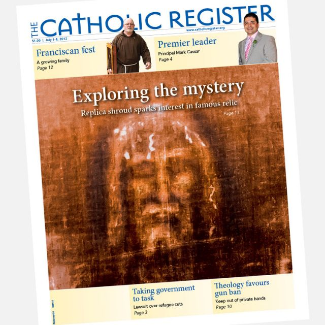 The front cover of the current issue of The Catholic Register