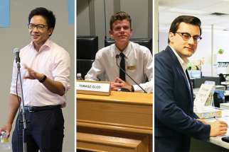 Enrique Olivo, 22, is running to become Ward 12 trustee at Toronto Catholic District School Board; Tomasz Glod, 19, is a trustee candidate for Dufferin-Peel Catholic District School Board; Steven Travale, 20, a trustee candidate for Bruce-Grey Catholic District School Board in Hanover, Ont.