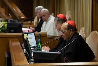 Pope Francis, Cardinal Blase J. Cupich of Chicago and Cardinal Oswald Gracias of Mumbai, India, attend the second day of the meeting on the protection of minors in the church, at the Vatican Feb. 22, 2019.