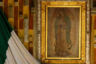 This 2016 file photo shows the original image of Our Lady of Guadalupe in the Basilica of Our Lady of Guadalupe in Mexico City.