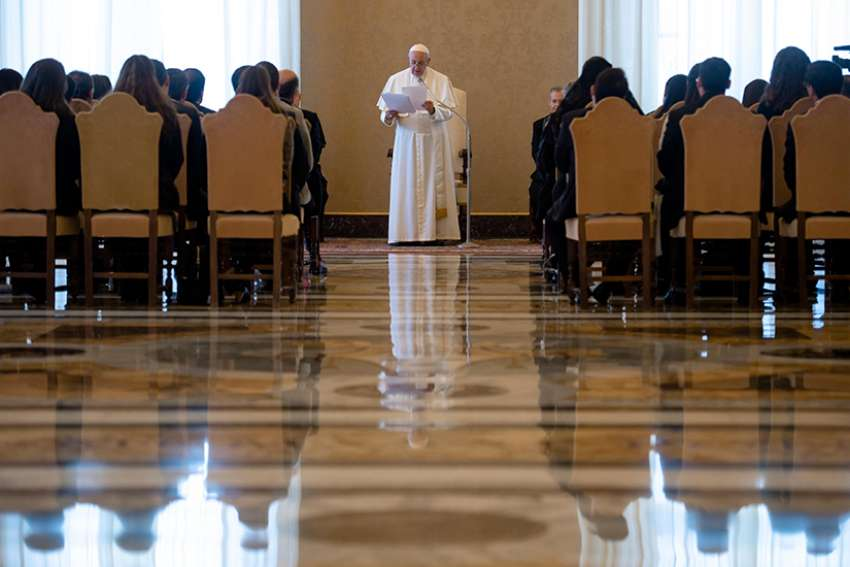 Pope Francis speaks during a meeting with young Catholic leaders from Latin American at the Vatican March 4, 2019.